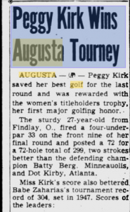 Newspaper clipping of Peggy Kirk's 1949 Titleholders Championship